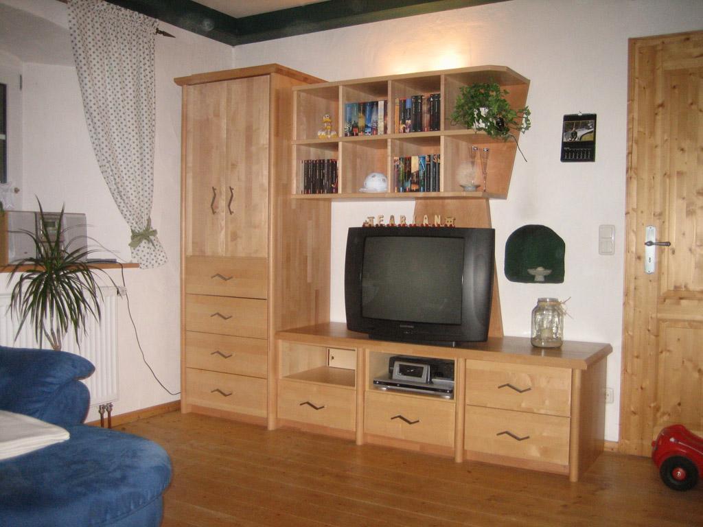 TV Wohnwand Unterbauedelstahlsple Vitrine In Kirsche Wohnzimmerschrank